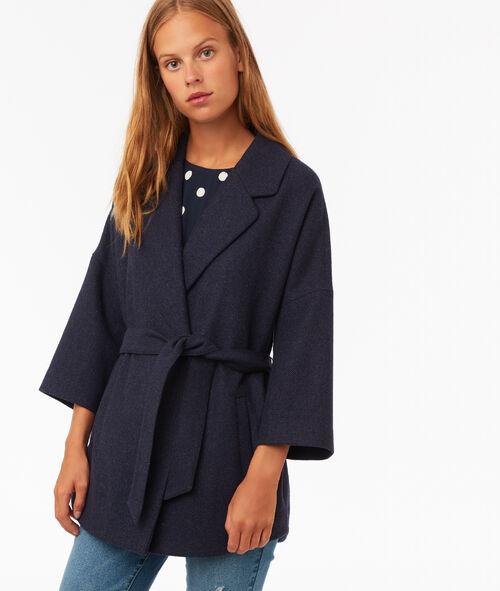 3/4 plain coat with belt