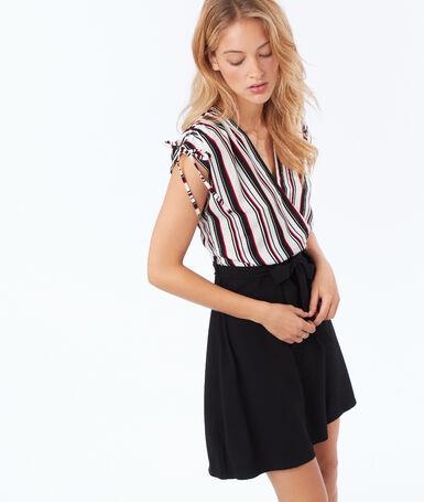 Striped wrap belted dress ecru.