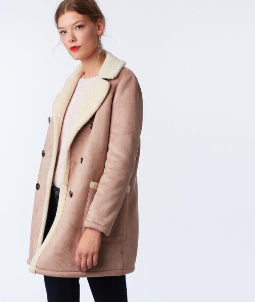 Three quarter length shearling coat