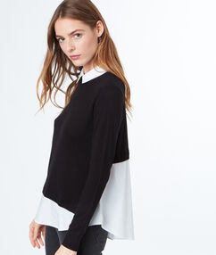 Two-in-one jumper with shirt collar black.