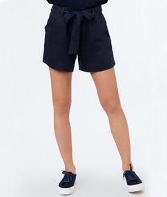 Belted short navy blue.