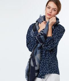 Printed scarf navy blue.