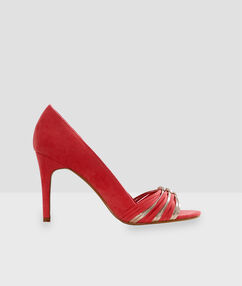 Heeled court shoes coral.