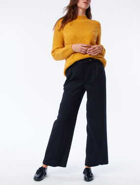 High waist flare trousers navy blue.