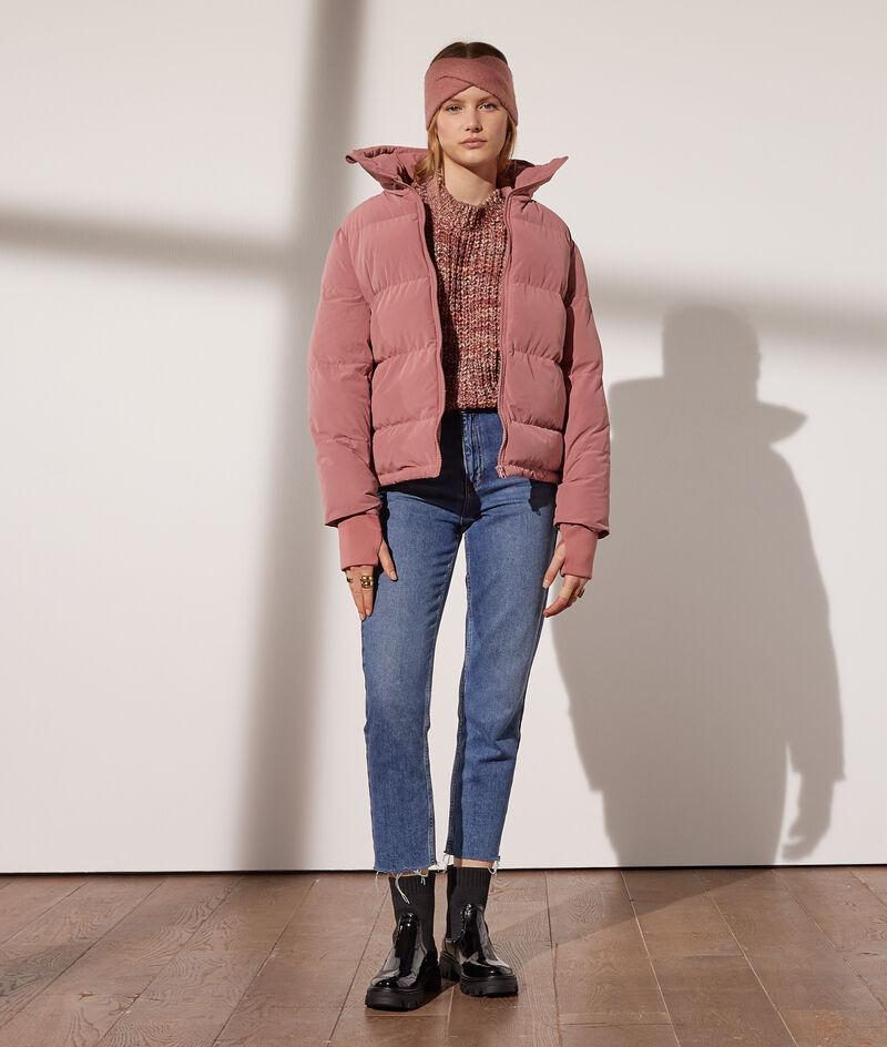 Peach skin hooded jacket