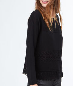 Lace-paneled sweater black.