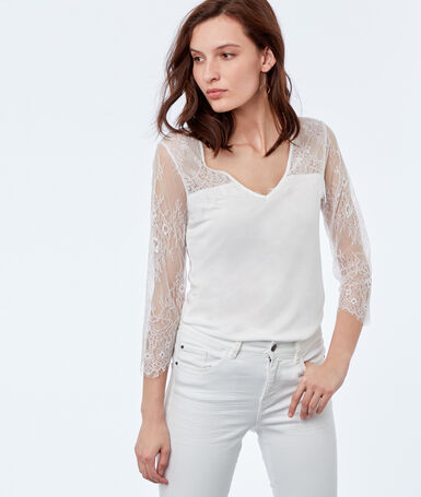 Lace insert top off-white.