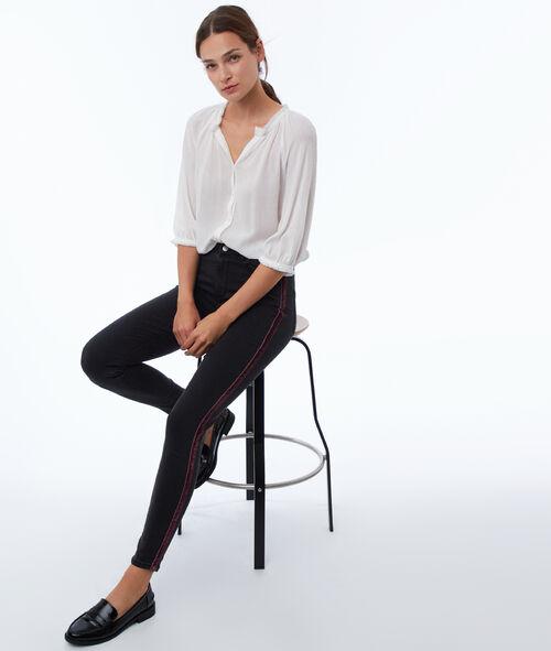 Side stripe slim leg jean