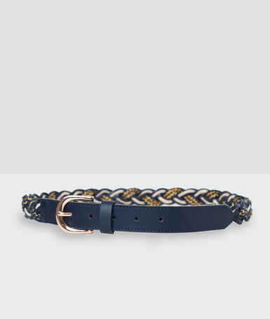 Braided belt navy blue.