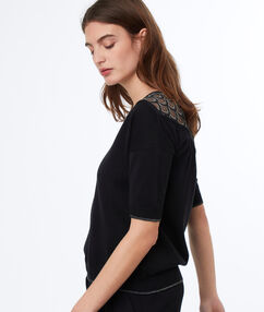 Lace insert top black.