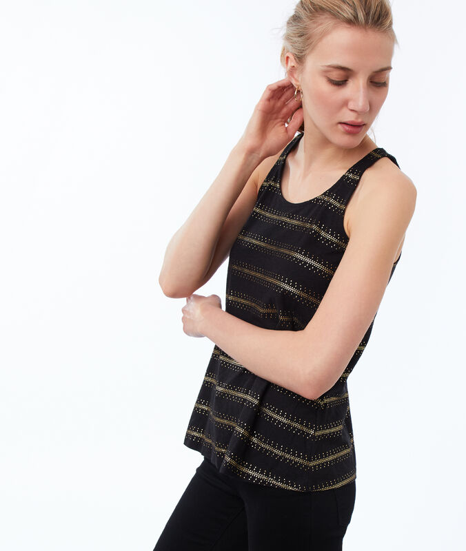 Golden striped tank top black.