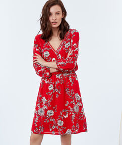 Floral print dress red.