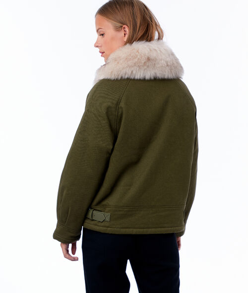 Faux fur neck jacket