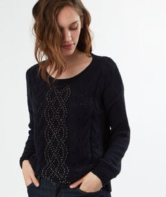 Cotton round-necked knitted jumper navy blue.