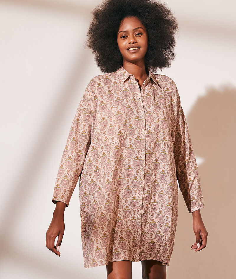 Shirt dress in printed cotton gauze