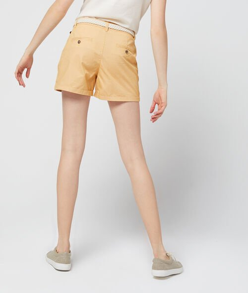 100% organic cotton belted shorts