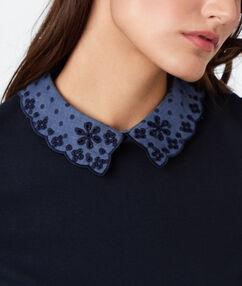 Collar shift t-shirt navy blue.