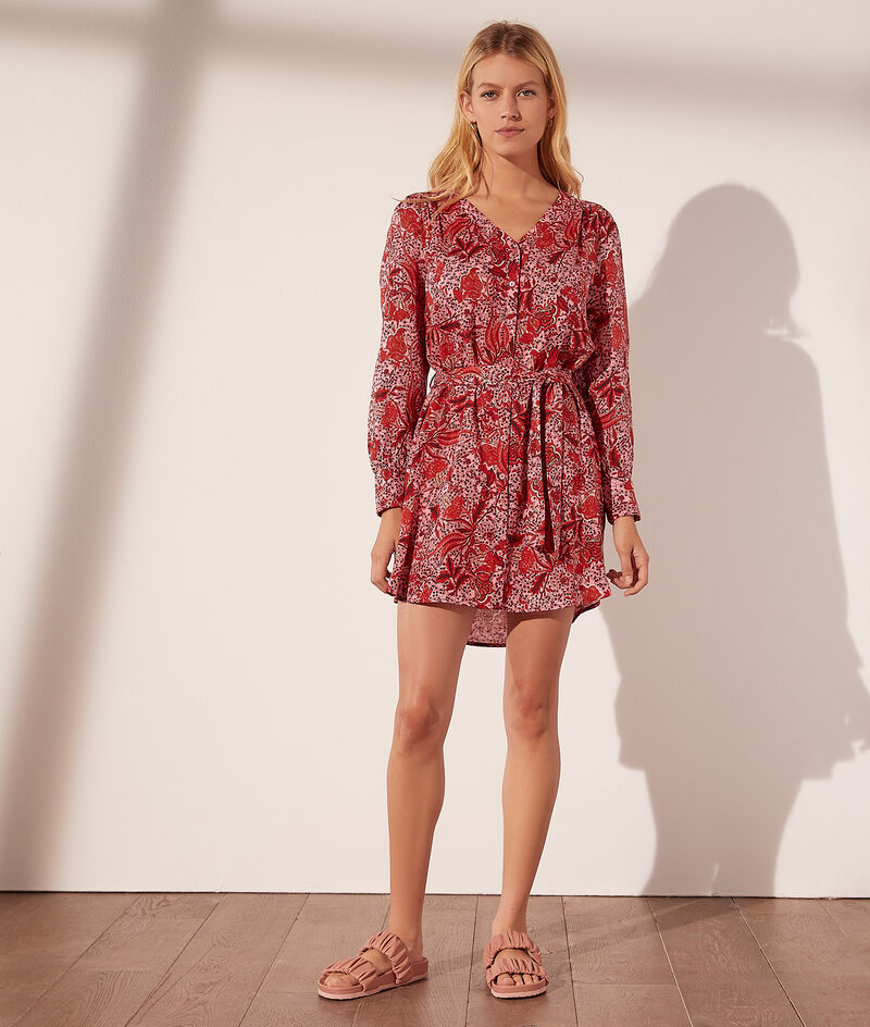 Short floral print dress with belt