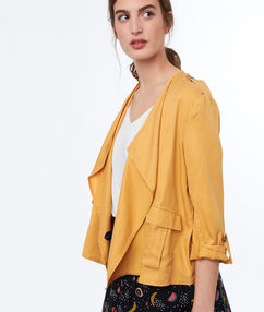 Jacket with shawl collar ochre.