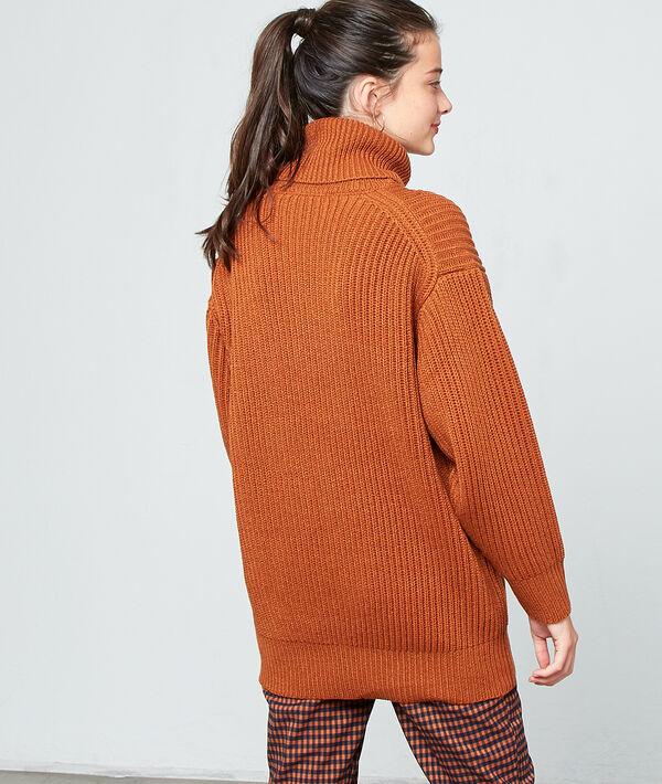 Turtleneck jumper in maxi knit