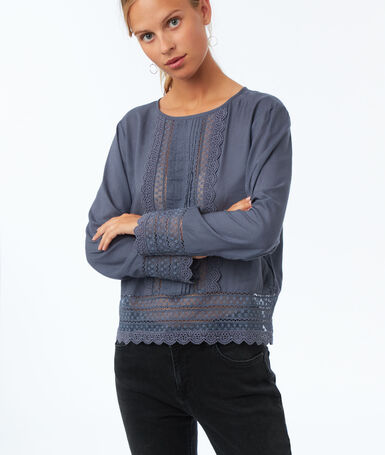 Guipure lace yoke blouse slate blue.