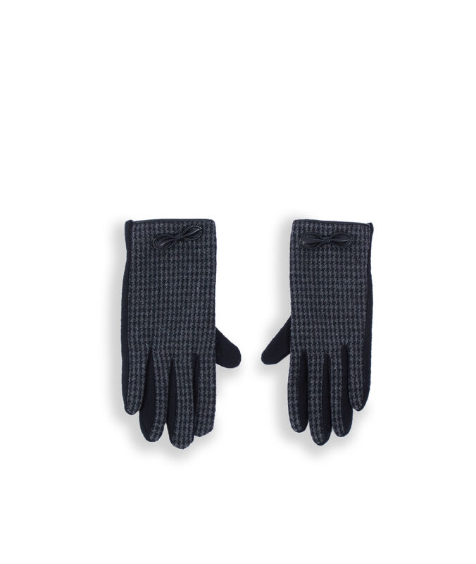 Gants à carreaux avec nœud noir.