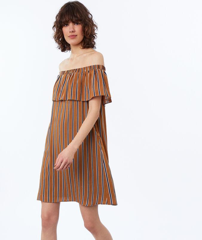 Bare-shouldered striped dress ocre.