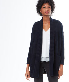 Long cardigan with cable-stitch detail navy blue.