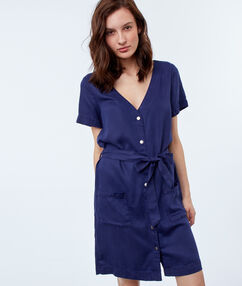 Belted shirt dress indigo blue.