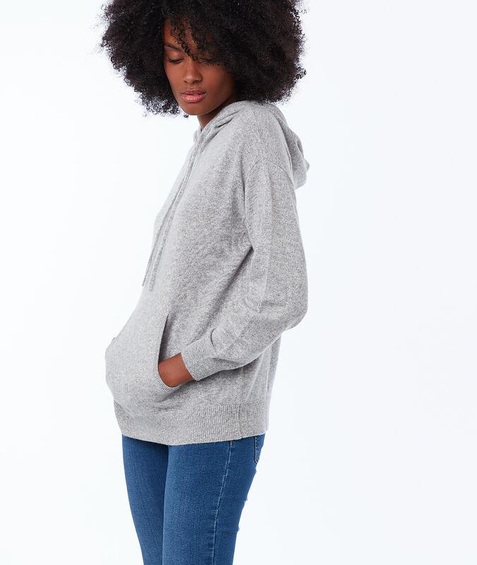 Cashmere hooded jumper light grey marl.