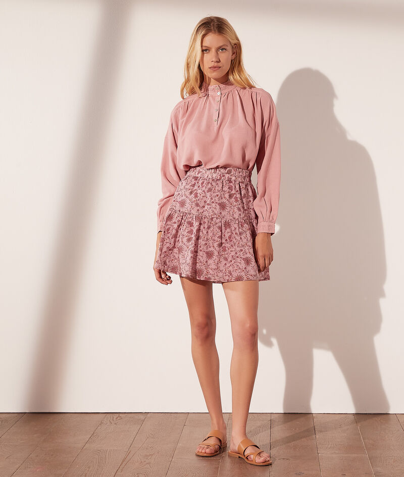 Flowery printed cotton skirt
