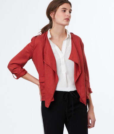 Jacket with shawl collar tomato red.