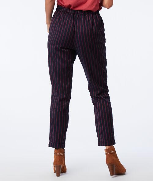Pantalon cigarette à rayures