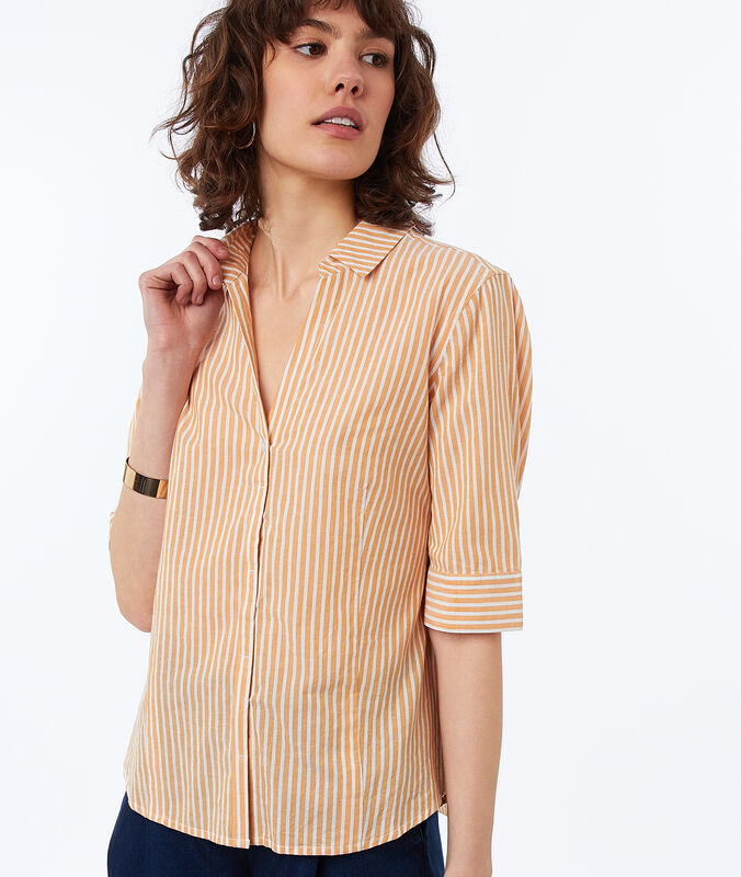 Striped cotton blouse ocre.