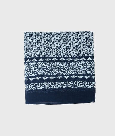 Printed scarf navy blue.