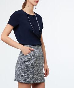 Jacquard skirt navy blue.