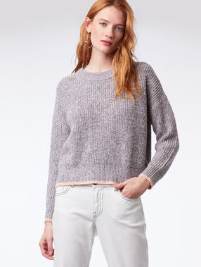 Pull grosse maille gris chine clair.