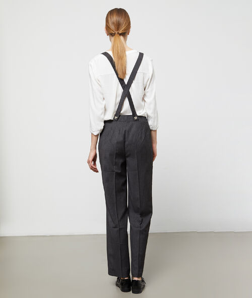 Wide leg trousers with braces
