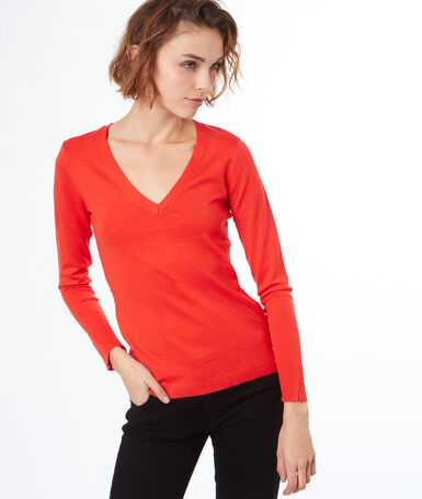 V-neck knitted jumper orange.