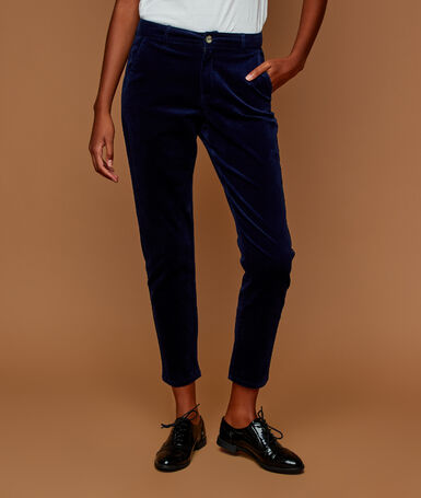 Velvet trousers 7/8 navy blue.