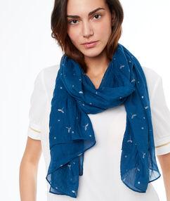 Printed scarf ink blue.