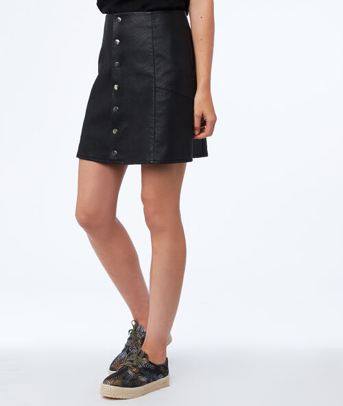 Leather look buttoned skirt