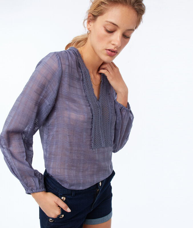 Cotton blouse with a tunisian neck slate blue.