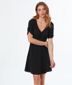 Polka dot print dress black.