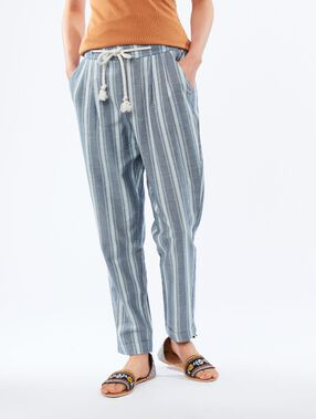 Striped carrot pants medium denim.