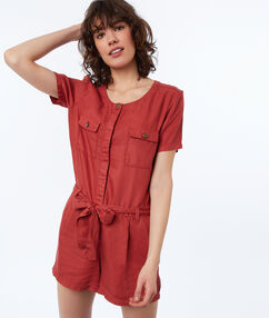 Tencel® playsuit with 2 pockets tomato red.