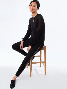 Bi-material sweater black.