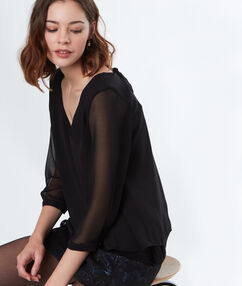 Blouse with bow back black.