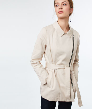 Short cotton trench beige.