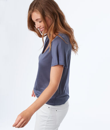 Tencel® v-neck t-shirt slate blue.